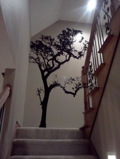 Correction For Wall Behind The Stairs Static Cling Removable - How to put up a tree wall decal
