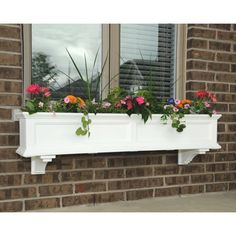 Mayne W x H White Resin Hanging Self Watering Window Box at Lowe's. Brighten up the exterior of your home by adding color and beauty with the Mayne Fairfield Window Box Collection. This durable construction offers a low Plastic Planters, Window Planter Boxes, Wood Planters, Garden Planters, Wood Window Boxes, Window Box Plants, Front Porch Planters, Outdoor Planters, Balcony Garden
