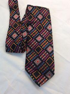 e65b91717f Jhane Barnes Mens Bold Geometric Square Floral Woven Necktie Tie Silk | eBay