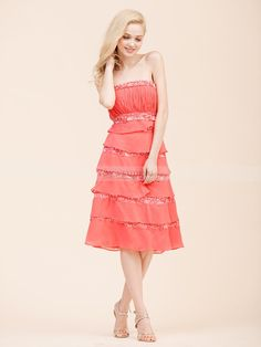 Strapless Embroidered Chiffon A Line Bridesmaid Dress 0113787