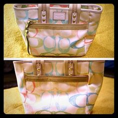 "C logo Coach purse! Bundle=20% OFF!! Cute little C logo Coach purse! Features one exterior zipper pocket, one exterior snap pocket, full zipper closure, one interior zipper pocket, and two interior slip pockets. Measures 7"" high, 11"" wide, 3.5"" deep, and drop strap is 4"". Signs of wear include some spots/discoloring on the exterior material, and some wear on the leather handles. Cute Spring colors! Priced to sell!! Bundle 2 or more items and save 20%!! OR make me a reasonable offer via the…"