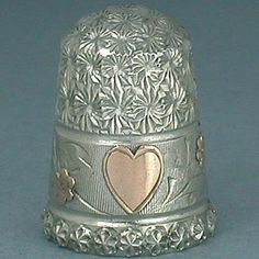 Antique English Sterling Silver Thimble w/ Gold Heart & Flowers * 1985 ...