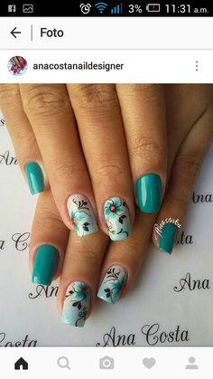 Flower Nail Designs, Pretty Nail Designs, Colorful Nail Designs, Fancy Nails, Cute Nails, Pretty Nails, Nail Art Designs Videos, Best Nail Art Designs, Butterfly Nail