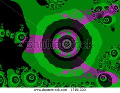 Green and Purple Fractal Design With Eye Shape looks 60s or 70s Style