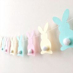 Excited to share the latest addition to my #etsy shop: Pastel Bunny Easter Garland Rabbit Garland Bunny Baby Shower 1st Birthday Pink Yellow Aqua Bunny Banner Easter Decorations Spring Home Decor