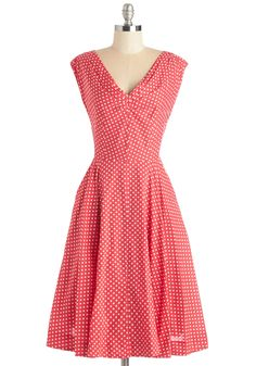 Just in Timeless Dress in Dots. For a vintage-inspired look that will make your heart leap, hurry into this polka-dotted dress from hard-to-find British brand Emily  Fin! #red #modcloth