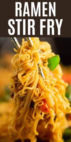 Ramen Noodle Recipes, Stir Fry Recipes, Cooking Recipes, Ramen Noodles, Asian Noodles, Ramen Dishes, Pasta Dishes, Pasta Food, Shrimp Pasta