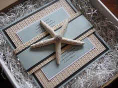 Boxed Starfish Invitation Mermaid Birthday, 3rd Birthday, Seashell Wedding, Beach Party, Wedding Events, Weddings, Beach Themes, Starfish, Sweet 16