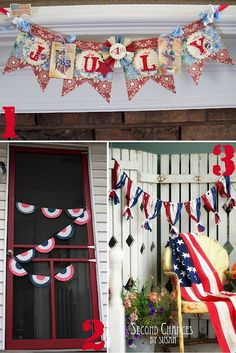 4th of July Craft Banners.   1. July 4th Banner   2. Coffee Filter Bunting   3. Ribbon Bunting