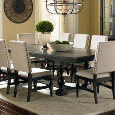 """Steve Silver Leona Cottage Rectangular Antique Black Dining Table with 18"""" Leaf - Olinde's Furniture - Dining Room Table"""