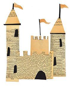 Collage de formes découpées dans un  vieux livre pour faire un château