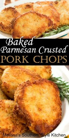 Make these juicy faux fried pork chops in the oven porkchops pork bakedporkchops ovenfriedporkchops dinnerideas dinner bestporkrecipes southernrecipes southernfood melissassouthernstylekitchen Oven Fried Pork Chops, Pork Chops Parmesan Crusted, Parmasean Pork Chops, Pork Chop Marinade Baked, Pork Loin Chops, Pork Cutlets, Boneless Pork Chops, Pork Chop Dinner, Gourmet