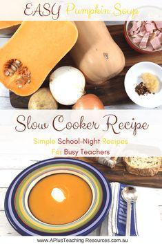 Slow Cooker Pumpkin Soup -School Night Recipes For Teachers Slow Cooker Pumpkin Soup, Slow Cooker Soup, Bacon Soup, Healthy Slow Cooker, Easy Soup Recipes, Food To Make, Dish, Tasty, Bread