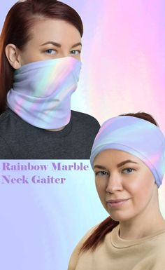 Pastel Rainbow Neck Gaiter For Women Watercolor Marble Face Mask Cover, Mouth Nose Face Cover, Bandana Hair Band Headband Fantasy Make Up, Unicorn Fantasy, Kawaii Goth, Pastel Grunge, Bandana Hairstyles, Marble Print, Balaclava, Neck Warmer, Colorful Fashion