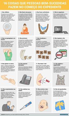 Infográfico: 16 rotinas de pessoas bem-sucedidas no início do expediente