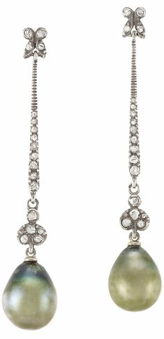 Pair of Antique Silver, Gold, Diamond and Natural Pearl Pendant-Earrings | Suspending 2 drop-shaped pearls approximately 12.0 x 9.99 mm. and 12.4 x 10.61 x 10.40 mm., accented and joined by a line of 38 rose-cut diamonds