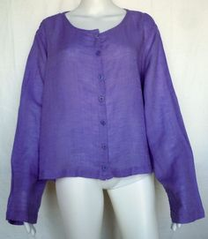 FLAX SUNSHINE Cute Cardi Top, Wisteria Voile, Purple, L, 1G (1X), NWOT #Flax #Blouse #Casual
