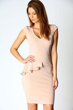 Rebecca Side Peplum V Neck Dress - loving the nude colour :)