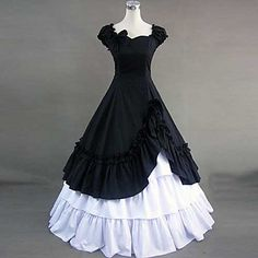 Short Sleeve Floor-length Black Cotton Retro Style Gothic Lolita Dress