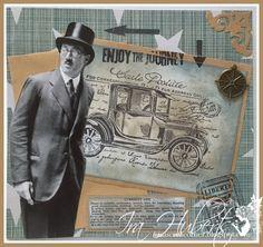 Vintage male card - stamped - distress inks