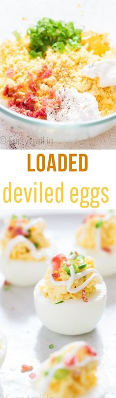 Looking for an easy-to-make appetizer that great for any gatherings including Easter/Spring time party? Deviled eggs with bacon is what you need. It's irresistible, low-carb, super easy to make and eggscelent crowd-pleaser! #healthyappetizers #easydeviledeggs #deviledeggsrecipes #Easterparty #Easterrecipes ##eggs #appetizers #eggappetizers #deviledeggs #bacon #summerpicnic #potluckrecipes #springtimerecipe #springrecipes