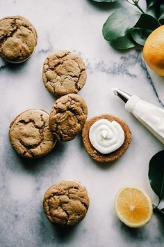 Meyer Lemon Cream Filled Ginger Cookies – The Sticky Spatula Gourmet Cookies, Cookie Desserts, Just Desserts, Easy Cookie Recipes, Sweet Recipes, Baking Recipes, Dessert Recipes, Ginger Cookies, Lemon Cookies