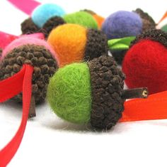 tutorial from The Wool Acorn: Merry and Bright Ornaments {Acorns} ..would need a felting needle though