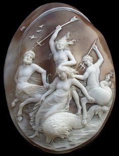 Amazing and huge cameo, carved in very hugh relief to depict Centaurs, Nymphs and a Dolphin.