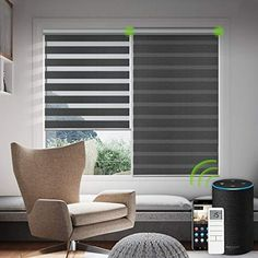 Yoolax Motorized Window Blinds Custom Size, Zebra Roller Blinds with Remote Control Works with Alexa, Dual Layer Sheer Shade and Privacy Light Control Automatic Day and Night Shades for Home (Black) Sheer Blinds, Window Blinds, Curtains With Blinds, Blinds For Windows, Valance Curtains, Zebra Curtains, Zebra Blinds, Remote Blinds
