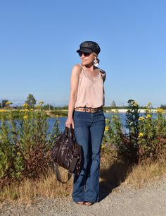 9d770e360b667 Monika Faulkner personal style inspiration - styling a pink lace-trimmed  camisole with flare jeans