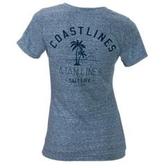 Salt Life Coast Lines and Tan Lines V-Neck T-Shirt for Ladies - Baltic Blue - L