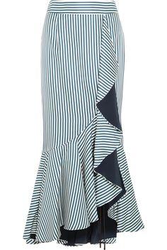 Hellessy | Daffodil ruffled striped silk-satin twill maxi skirt | NET-A-PORTER.COM