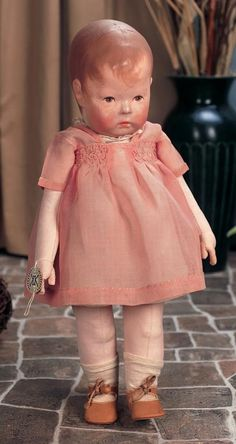 """View Catalog Item - Theriault's Antique Doll Auctions - superb early model german cloth kathe kruse doll, 16"""""""
