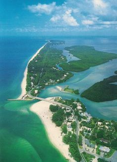Sanibel Island, our favorite beach in Florida. An aerial view of Blind Pass which runs between Captiva & Sanibel Island, FL Sanibel Florida, Florida Vacation, Florida Travel, Florida Beaches, Vacation Spots, Travel Usa, Clearwater Florida, Sarasota Florida, Tampa Florida