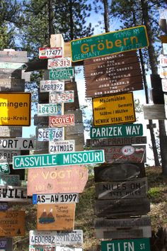 Signpost Forest, Watson Lake, Yukon.  California gets represented 5 times here.  Can you find where?  06/2013.