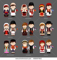 People in national dress. Albania, Greece, Montenegro, Serbia, Slovakia, Slovenia, Croatia, Macedonia, Romania. Set of european pairs dressed in traditional costume. National clothes.