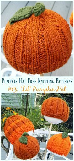 477964d30 Pumpkin Hat Free Knitting Patterns [Baby To Adults] | Knit hat ...