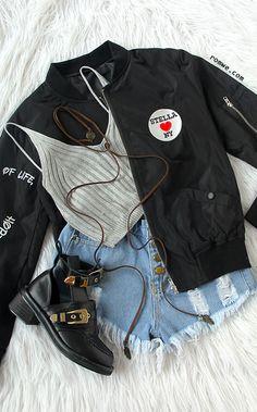 Teen Fashion Outfits, Grunge Outfits, Short Outfits, Pretty Outfits, Cool Outfits, Casual Outfits, Latest Street Fashion, Korean Fashion, Cool Bomber Jackets