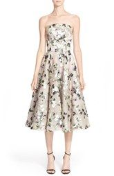 Alexander McQueen Floral Print Strapless Fit & Flare Dress