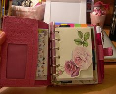 Personal Planer decorative page Faux filofax decorative page I think this could me made with floral design scrapbooking paper cut to the size of your planner.  Then cut a corner following the outline of the design.