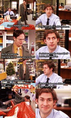 this prank is the reason I started watching the office. the office christmas sayings The Office Show, Office Tv, The Office Dwight, The Office Season 6, The Office Cpr, The Office Humor, The Office Quiz, Parks N Rec, Parks And Recreation