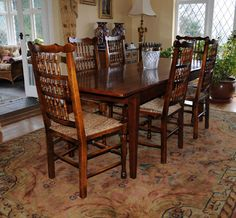 Farmhouse dining set with matching set of oak spindleback chairs Farmhouse Dining Set, Oak Dining Sets, Kitchen Dining Sets, Round Kitchen, 3 Piece Dining Set, Dining Room Table, Kitchen Decor, Dining Chairs, Kitchen Images