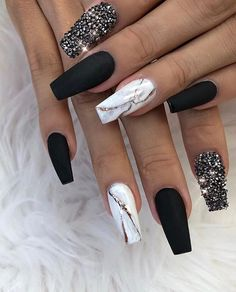 ✨ Matte Black, White Marble and Crystal Glitter on Coffin Nails ✨ .,✨ Matte Black, White Marble and Crystal Glitter on Coffin Nails ✨ Summer Acrylic Nails, Best Acrylic Nails, Marble Acrylic Nails, Summer Nails, Stylish Nails, Trendy Nails, Perfect Nails, Gorgeous Nails, Nagel Blog