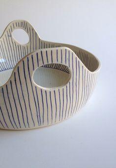 Paula Greif Ceramics - Blue Lines Porcelain Basket
