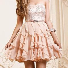 Prom dress 2015, fashion sweetheart strapless a-line chiffon ruffles short prom dress for teens