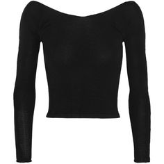 Ballet Beautiful Cropped off-the-shoulder stretch-knit sweater ($140) ❤ liked on Polyvore featuring tops, sweaters, black, off the shoulder crop top, lightweight sweaters, cut-out crop tops, off shoulder crop top and crop top