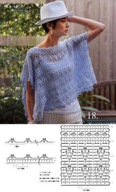 Crochet Jacket, Crochet Blouse, Crochet Poncho, Crochet Art, Free Crochet, Crochet Patterns, Crochet Diagram, Crochet Accessories, Blouses For Women