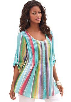 Rainbow Stripe Bigshirt | Plus Size Shirts & Blouses | OneStopPlus