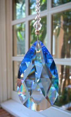 "Blue Swarovski Crystal Suncatcher Prism, Rainbow Crystal, Window Decor, Hanging Window Ornament with Swarovski Crystals and Pearls - ""LEIGH"""