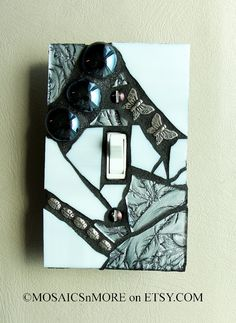 Silver and Shiny  HANDMADE   Mosaic Light Switch by MOSAICSnMORE, $16.95